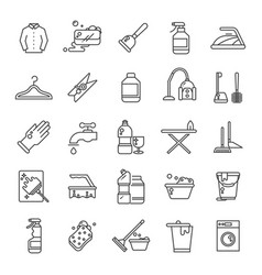 Cleaning and washing house laundry outline vector