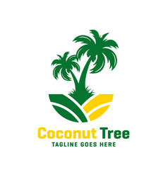 coconut tree logo on beach vector image
