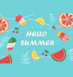 colorful summer background layout design on light vector image