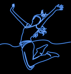 Continuous line drawing jumping happy woman neon vector