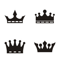 crown logo set silhouette vector image