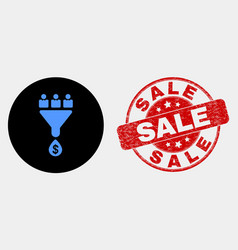 customers sales funnel icon and grunge sale vector image