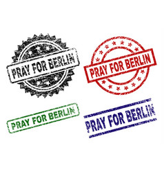 damaged textured pray for berlin stamp seals vector image