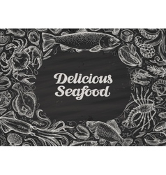 delicious seafood hand drawn food on chalkboard vector image