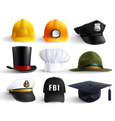 Different professions hats set vector