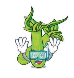 Diving wasabi character cartoon style vector