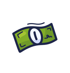 Dollar banknote cartoon doodle style line icon vector