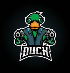 Duck put a gun for esport team logo design vector