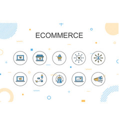 Ecommerce trendy infographic template thin line vector