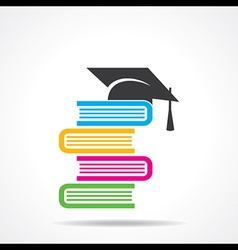 Education concept with graduation cap and computer vector image