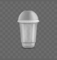 Empty clear transparent disposable plastic cup vector