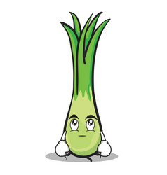 Eye roll leek character cartoon vector