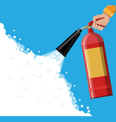 Fire extinguisher in hand with foam vector