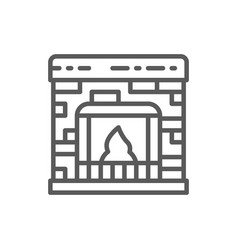 fireplace line icon vector image