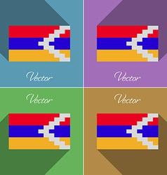 Flags Karabakh Republic Set of colors flat design vector image