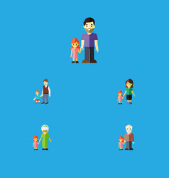 Flat icon relatives set of grandpa boys daugther vector