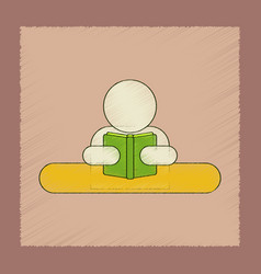 Flat shading style icon man reading book vector