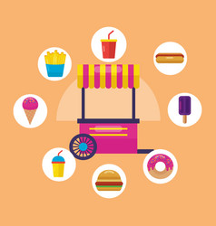 Food trucks flat design image vector