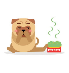 funny pug dog character sitting beside a full bowl vector image