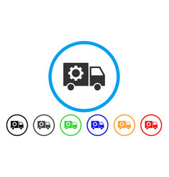 gear tools delivery car rounded icon vector image