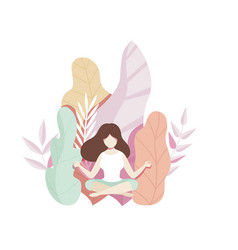 Girl meditating on natural background with big vector
