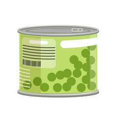 Green peas in metallic can with label and ring vector