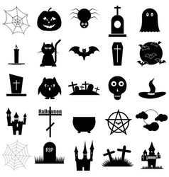 halloween set black icon on white vector image