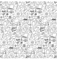 Hand drawn stay home seamless pattern with vector