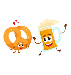Happy aluminium beer mug and pretzel characters vector