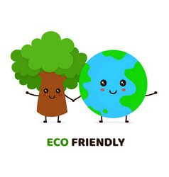 happy cute smiling green tree and earth vector image