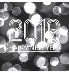Happy new year 2016 on grayscale bokeh circle vector