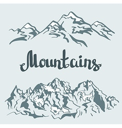 Himalayan peaks Hand drawn mountain landscape vector