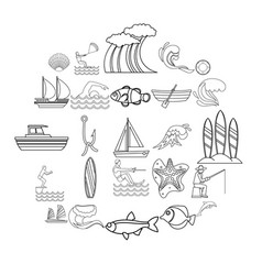 Hydrous icons set outline style vector