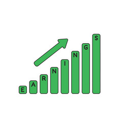 icon concept earnings sales bar moving up vector image