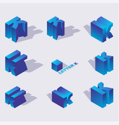 isometric alphabet font english letter k 3d vector image