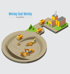 isometric coal mining concept vector image