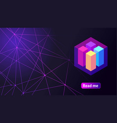 Isometric holographic geometric icon crypto curre vector