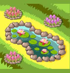 Landscaping garden pond isometric vector