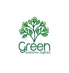 logo green leaf ecology nature element i vector image