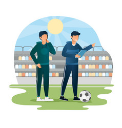 male soccer coach pointing finger giving vector image