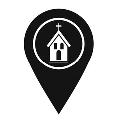 Map pointer with church icon simple style vector