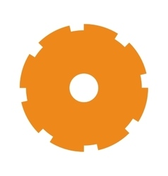 Orange silhouette toothed pinion icon vector