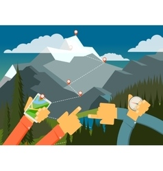 Outdoor walking camping looking way vector image