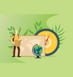 people explore and adventure the world with maps vector image