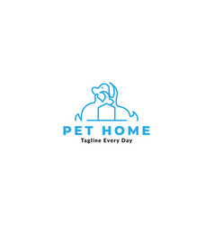 Pet or dog or cat home or house secure logo vector