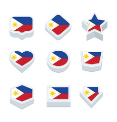 Philippines flags icons and button set nine styles vector