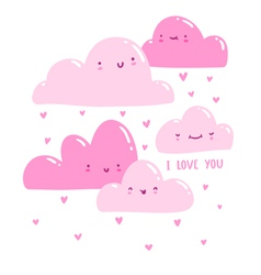 Pink valentine clouds vector