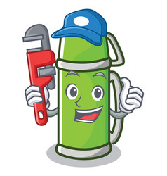 Plumber thermos character cartoon style vector