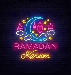 Ramadan kareem greeting cards neon sign design vector