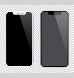 Realistic smartphones mockups black and white vector